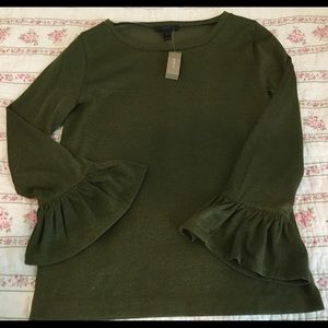 NWT J. Crew Forest Green Sparkle Bell Sleeve Top